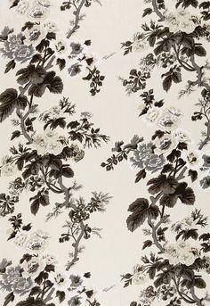 Pyne Hollyhock Print in Charcoal, 174450. http://www.fschumacher.com/search/ProductDetail.aspx?sku=174450 #Schumacher