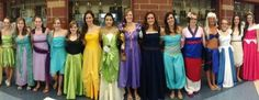 Annually, we girl swimmers dress up for our boys Sectional Championship meet.  This past season, we decided on Disney Princesses, all of which were 100% handmade. Order: Tinkerbell, Giselle (Enchanted), Meg (Hercules), Ana, Elsa (Frozen), Belle, Tiana (Princess and the Frog), Rapunzel, Merida (Brave), Jasmine, Mulan, Kida (Atlantis), Cinderella,  Pocahontas, Sleeping Beauty