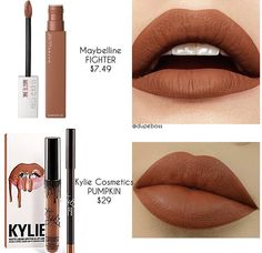 What a gorgeous affordable dupe for the Kylie Cosmetics shade Pumpkin! dupes M Maybelline Superstay Lipstick, Lipstick Dupes, Lipstick Shades, Makeup Lipstick, Lipsticks, Maybelline Matte Ink, Maybelline Products, Eyeshadow Dupes, Nude Lipstick