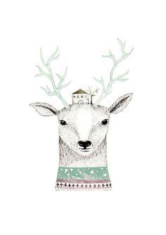 Ilustraciones - Deer - DinA4 - hecho a mano por missmalagata en DaWanda