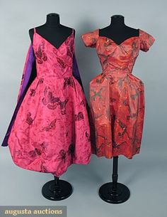 2 SCAASI SILK CHINE PARTY DRESSES, 1950s