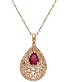 Ruby (1-1/4 ct. t.w.) and Diamond Accent Necklace in 14k Rose Gold over Sterling Silver - Gemstones - Jewelry & Watches - Macy's