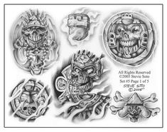 TattooSet - All-in-One Place for Tattoo Designs Aztec Tattoo Designs, Name Tattoo Designs, Skull Tattoo Design, Aztec Designs, Gangster Tattoos, Chicano Tattoos, Chicano Art, Skeleton Hand Tattoo, Hand Tattoos
