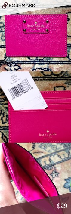 Kate Spade 'sweetheart' pink cardholder NWT Fuschia leather Graham ID wallet, gold hardware, 3 card slots, 1 storage pocket, approx 3x4.25. PRICE FIRM kate spade Accessories Key & Card Holders