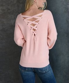 Simply Couture Pink Tie-Back V-Neck Lightweight Sweater | zulily