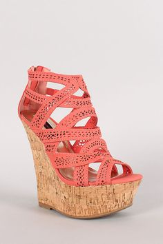 Dollhouse Event Open Toe Strappy Cut Out Platform Wedge
