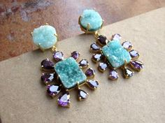 Purple Crystal Chandelier Earrings, Light Green Druzy Earrings, Earrings for Bridesmaids, Bridal Shower Earrings, Statement Earrings