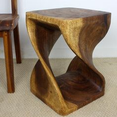 wood furniture twist stool with walnut finish