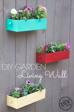 Upcycle old drawers turning them into a living wall in a mater of hours! The impact is huge and you will be able to enjoy the fun colors year round,
