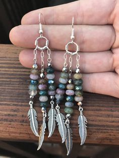 Feathered Jasper Earrings Boho Chic Earrings Dangle