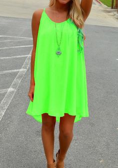 Green Plain Condole Belt Back Hollow-out Chiffon Dress