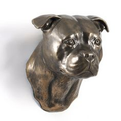Staffordshire Terrier dog hanging statue by ArtDogshopcenter