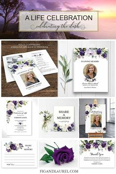 Celebration of Life Funeral Cards Floral for a funeral or life celebration. Coordinating funeral guest book, share a memory cards and welcome sign available.