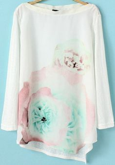 White Long Sleeve Floral Asymmetrical T-Shirt pictures