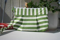 Green and white stripe - Handmade Purse / Wristlet