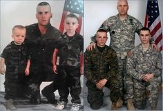 Then and Now: A Gallery of 20 Funny Recreated Family Photos Recreated military family photos – BestMomsTV Recreated Family Photos, My Champion, Military Love, Military Families, Military Honors, Support Our Troops, Real Hero, American Soldiers, American Veterans