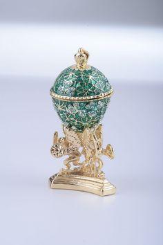 Green Faberge Egg Trinket Box with a Golden Frog por KerenKopal