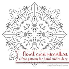 Floral Cross Medallion – Free Hand Embroidery Pattern – NeedlenThread.com