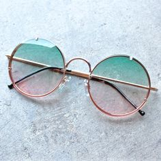 spitfire poolside in gold & blue / pink gradient round sunglasses - shophearts - 1