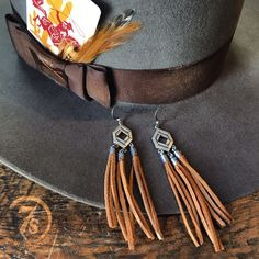 Townyn Earrings - Southwest cognac leather fringe earrings with diamond drop. Silver capped leather and super lightweight.