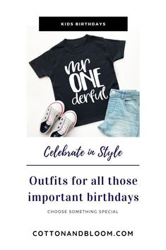 birthday party ideas 1st Birthday Shirts, 1st Boy Birthday, Kids Fashion, Fashion Outfits, Plain Tops, 1st Birthdays, Inspiration For Kids, Flat Lay, Party Planning