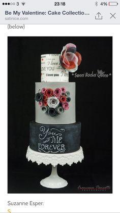 You&MeForever San Valentine Cake Wafer Paper Sweet Rocket Queen Black Wedding Cakes, Beautiful Wedding Cakes, Beautiful Cakes, Amazing Cakes, Cake Icing, Eat Cake, Cupcake Cakes, Cupcakes, Fondant Cakes