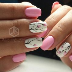 Pretty pink floral nails