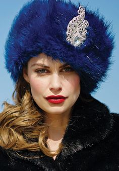 Sapphire Faux Fur Russian Hat. I'm so glad that's faux! I've never seen so much fur in fashion and interior design! I thought we were beyond that!! But I love this hat!!