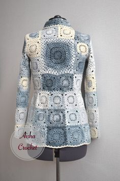 """Aisha Creative"" handmade clothing's photos - Crochet Gilet Crochet, Crochet Coat, Crochet Cardigan Pattern, Crochet Jacket, Crochet Shawl, Crochet Square Patterns, Crochet Squares, Crochet Granny, Crochet Baby"