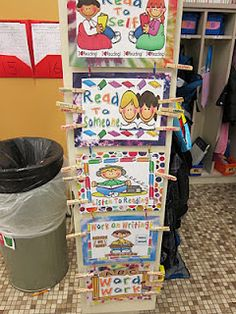 Daily 5 Organizational Ideas - maybe use pics of students doing each activity rather than clip art?
