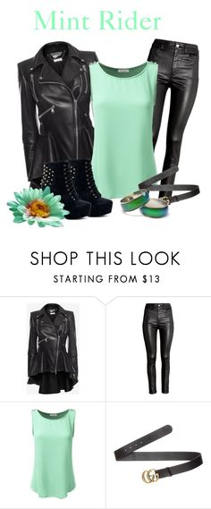 """""""Mint Rider"""" by raven-writer on Polyvore featuring Alexander McQueen, H&M, Doublju and Gucci"""