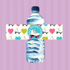Roller Skating Party - Printable WATER Bottle Wrap Labels - PERSONALIZED - Birthday Skate
