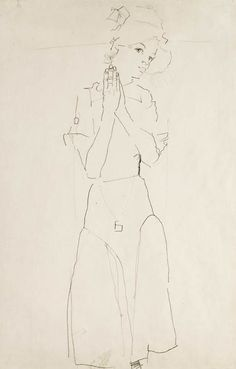 'Standing Girl with Raised Hands' - Egon Schiele