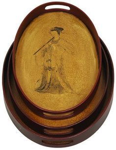 """Oriental Furniture 18-Inch Ming Lady Playing Flute Oriental Tea Trays, Set of 3 by ORIENTAL FURNITURE. $41.00. Browse our huge selection of japanese, chinese, asian décor, room dividers, art, lamps and gifts. 18"""" wide by 14"""" deep by 4"""" tall. Traditionally crafted fujian style oval tea trays. Lovely oval tea trays, nested set of 3, crafted in traditional fujian style, with attractive antiqued folk decoration. ships via fed ex home delivery, with expedited service a..."""