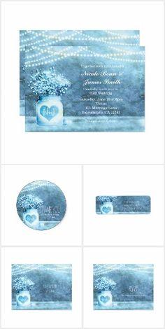 Blue Heart Mason Jar & Baby's Breath