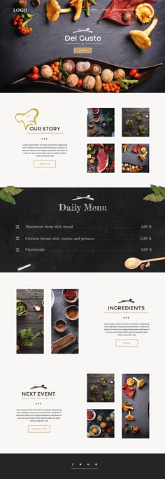 Del Gusto - Restaurant, Bar and Cafe Template on Behance