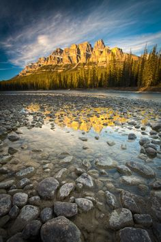 Alberta - Canadian rockies - Bow River and Castle Mountain, Banff National Park, Alberta, Canada; photo by Paul Zizka Banff National Park, National Parks, Beautiful World, Beautiful Places, Amazing Places, Places Around The World, Around The Worlds, Places To Travel, Places To Visit