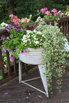 <3 old washtub planter (inspiration only)  Lindsey should do this to her old wash tub. LOL