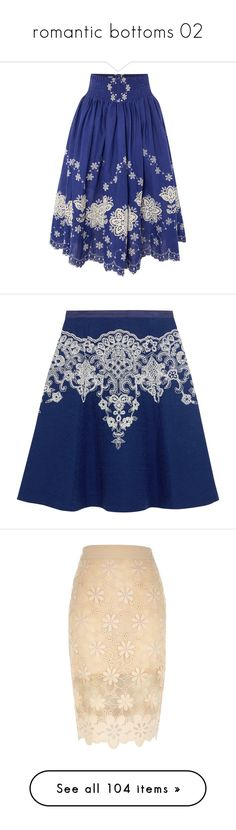 """romantic bottoms 02"" by papee ❤ liked on Polyvore featuring skirts, blue, women, long blue skirt, floor length skirt, ankle length skirts, braintree, hemp skirt, oscar de la renta and royal blue"