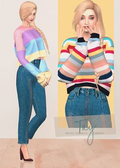 Sims 4 cc custom content clothing tay sweater daisy pixels laurenlime alpha cc finds theduffsim stou fora d si all new mesh all hq Sims 3 Cc Clothes, Sims 4 Cc Kids Clothing, Teen Clothing, Les Sims 4 Pc, Sims Cc, Sims Mods, Die Sims 4 Packs, Vêtement Harris Tweed, Pelo Sims