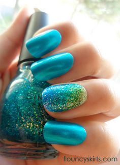 Blue green yellow glitter mermaid nails