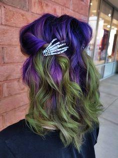 Purple And Green Hair, Green Hair Colors, Hair Dye Colors, Cute Hair Colors, Cool Hair Color, Wine Hair, Hair Creations, Halloween Hair, Bright Hair