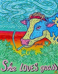 She loves grass, you love grass. Be happy, save money, grow your own marijuana and make small edible delicious marijuana candies. MARIJUANA - Guide to Arte Bob Marley, Marijuana Art, Medical Marijuana, Cannabis Oil, Trippy Painting, Trippy Wallpaper, Hippie Wallpaper, Stoner Art, Weed Art