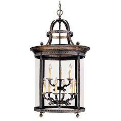 Model 1609 63 French Country Influence Bronze Nine Light Hanging Lantern Foyer