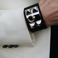 Hermès CDC cuff in black box leather with palladium hardware. Iconic and timeless.