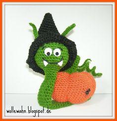 Schnecke Klara, die Halloween Kürbisschnecke, Häkelanleitung