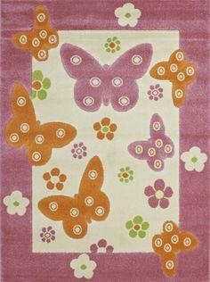 Best Robuster Kinderteppich Motiv Schmetterlinge und Blumen eBay Kinderzimmer