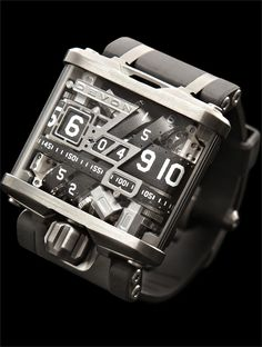 The Devon Tread 1 by Devon Works, a California based watchmaker. The mechanism tells the time using a series of belts.