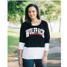 NC State Wolfpack Black and White Color Block Tunic