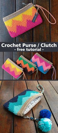 Crochet Clutch Purse Handbag Very easy and interesting project. - Crochet Clutch Purse Handbag Very easy and interesting project. Learn how to crochet - Crochet Simple, Free Crochet, Knit Crochet, Ravelry Crochet, Crochet Food, Beginner Crochet, Crochet Cushions, Crochet Shirt, Crochet Sweaters